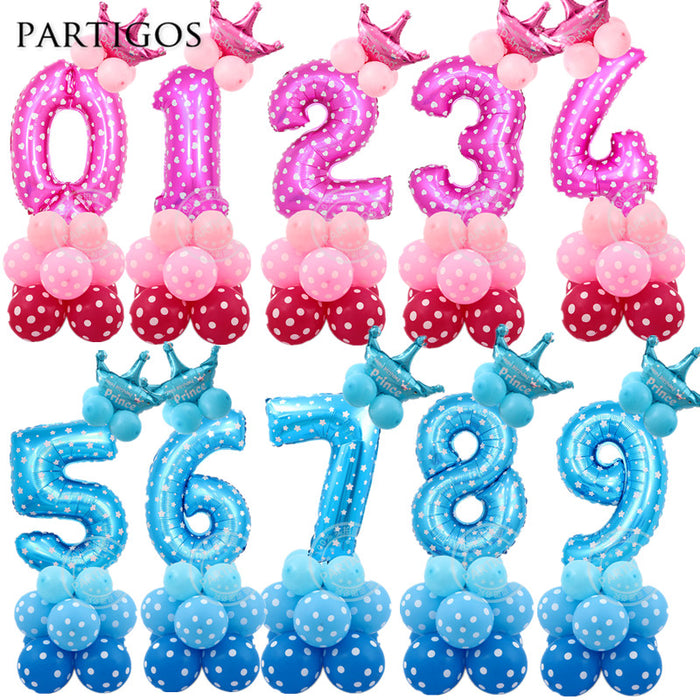 24pcs Baby Shower Foil Polka Dot Latex Balloons 30inch Number Balloon Child 0 9 Year