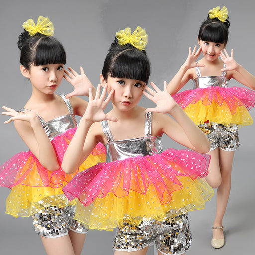 Children Modern Dance Costumes Sequins Jazz Dance Clothing Set For Kids Girls Dance Outfit Stage Suit Cheerleader Dress - KiddyLanes