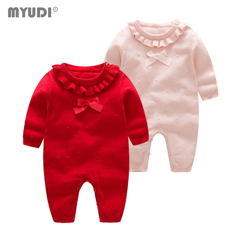 Myudi -Newborn Baby Girl Sweater Sweet Cotton Knitted Lotus one piece Clothing Children's Warm Bow-tie Romper Toddler Wear 0-2Y - KiddyLanes
