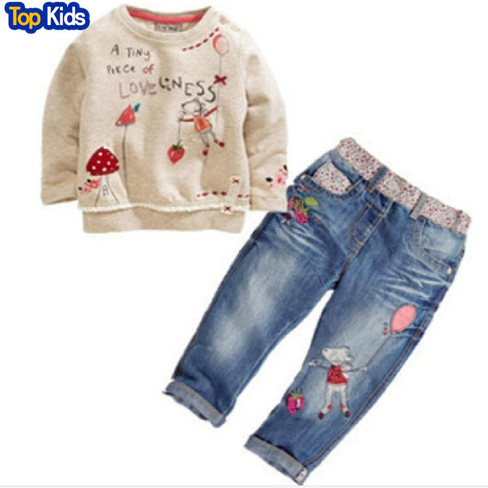New Arrival Toddler Cute Baby Girl 2 Pcs Children Sets Long Sleeve Tops+ Jeans Children Sets Spring Summer Outfits CCS191 - KiddyLanes