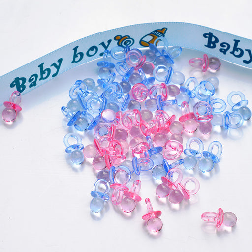 50pcs/lot Wooden & Plastic Clear Baby Shower Favors Mini Pacifiers Girl Boy Party Game Birthday Party Love Table Confetti Decors - KiddyLanes