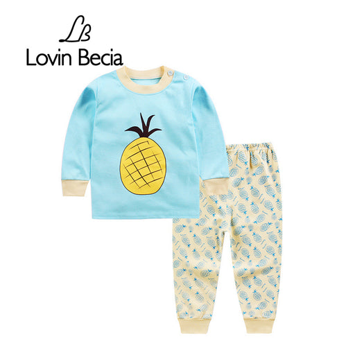 2 Pcs/sets Autumn Winter Children Cotton Underwear Long-sleeved T-shirt Trousers Baby Printing Clothes Pants Boy Girl Sport Suit - KiddyLanes