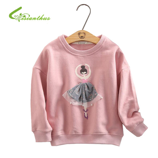 Girls T-Shirt Autumn Baby Girls Long Sleeve Hoodies Cute 3D Printed Dance Ballet Girl Tops Children Clothing Blouse - KiddyLanes