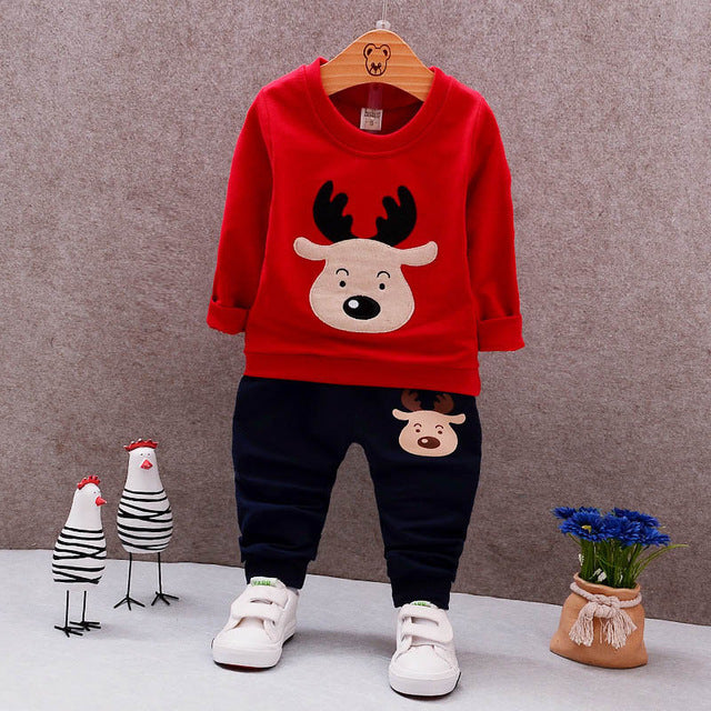 18M-5T Baby Boys Girls Clothes Christmas Costume Autumn Long Sleeve Boys Clothing Sets Fashion Elk Kids Clothes for Boys - KiddyLanes