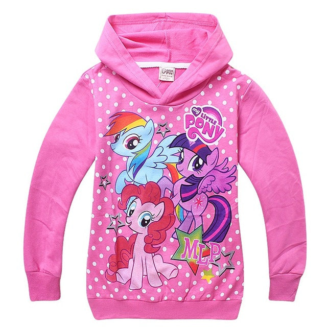 Retail Hot Girl Hoodies Clothing Spring Hoody Girls Children Outerwear Cartoon Little Pony Horse Jackets Coat for 3-10y in stock - KiddyLanes