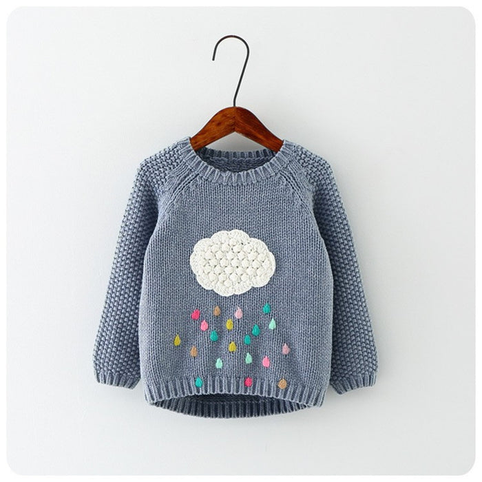 New winter baby girls sweater cloud raindrops kids clothes children sweater warm long sleeve for girls knitwear - KiddyLanes