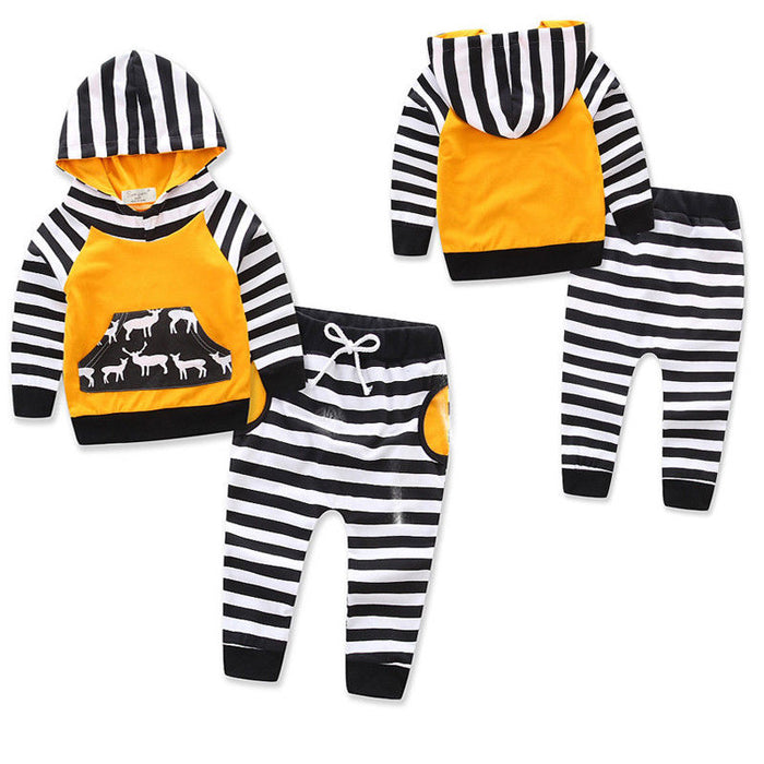 Unisex Spring Winter Baby Clothes Newborn Baby Boy Girls Clothes Hoodie Sweatshirt Long Sleeve Tops+Striped Pant 2PCS Outfit Sets 0-4T - KiddyLanes