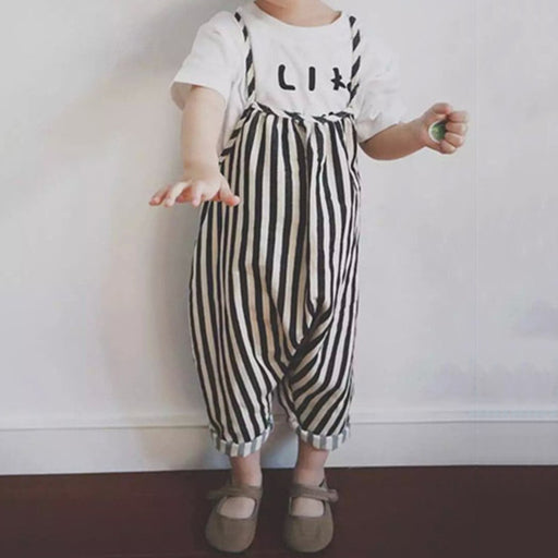 1ee27e5f5961 New Fashion Harem Pants Design Baby Girls Overall Spring Summer Clothes  Black White Vertical Striped Rompers
