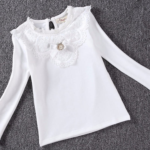 Autumn Girls Blouses Shirts Fashion Warm Solid Long Sleeve Lace Blouses Children Kids Cotton School Clothes - KiddyLanes