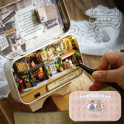 mylb  Happy Corner 3D Wooden DIY Handmade Box Theatre Dollhouse Miniature Box Cute Mini Doll House Assemble Kits Gift Toys Happy