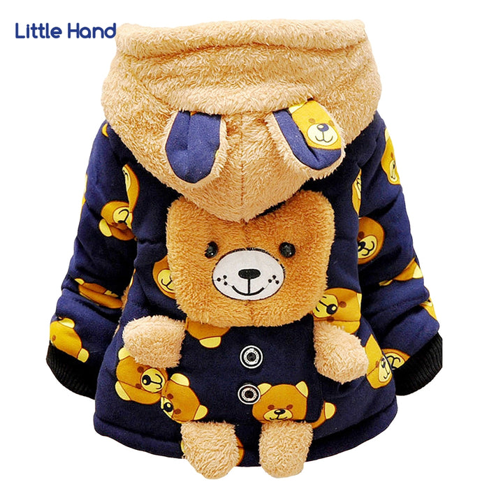 Baby Girls Boys Jacket Coat Kids Cartoon Bear Winter Warm Thick Cotton Hooded Hoodies Coat Children Christmas Outerwear New Year - KiddyLanes