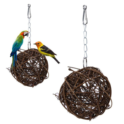 Pet Chewing Toy Parrot Bird Biting Toy Bird Branch Rattan Balls Cages Cockatoo Parakeet Cockatiel Swing Playing Toy Birdcage - KiddyLanes