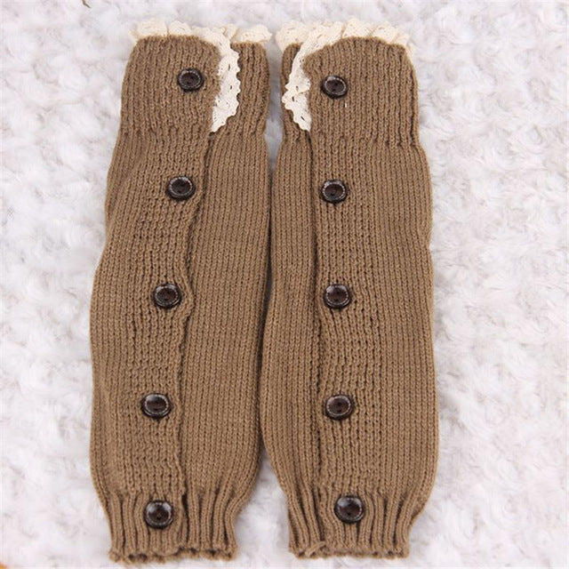 Winter Warm Knitted Lace Trim Buttons Down Leg Warmers Crochet Boot Socks Children Pink Boot Cuffs - KiddyLanes