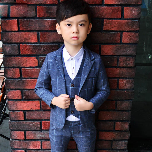 New 3PCS Kids Plaid Wedding Blazer Suit Brand Flower Boys Formal Tuxedos School Suit Kids Spring Clothing Set - KiddyLanes