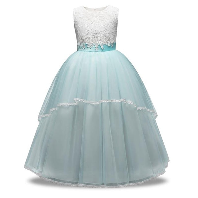 Winter flower princess girl tulle dress kids teenagers clothes Christmas party dresses performance clothing children prom gown - KiddyLanes