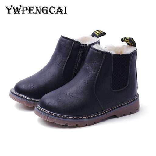 Classic Style Thick Velvet Kids Boots Zipper PU Leather Children Martin Boots Warm Winter Shoes Rubber Felt Boys Girls Boots - KiddyLanes