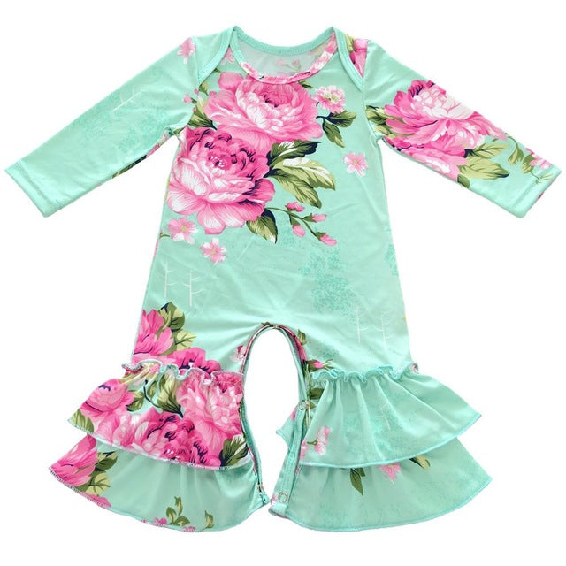 Baby Icing Ruffled Leg Rompers long sleeve floral patterns - KiddyLanes