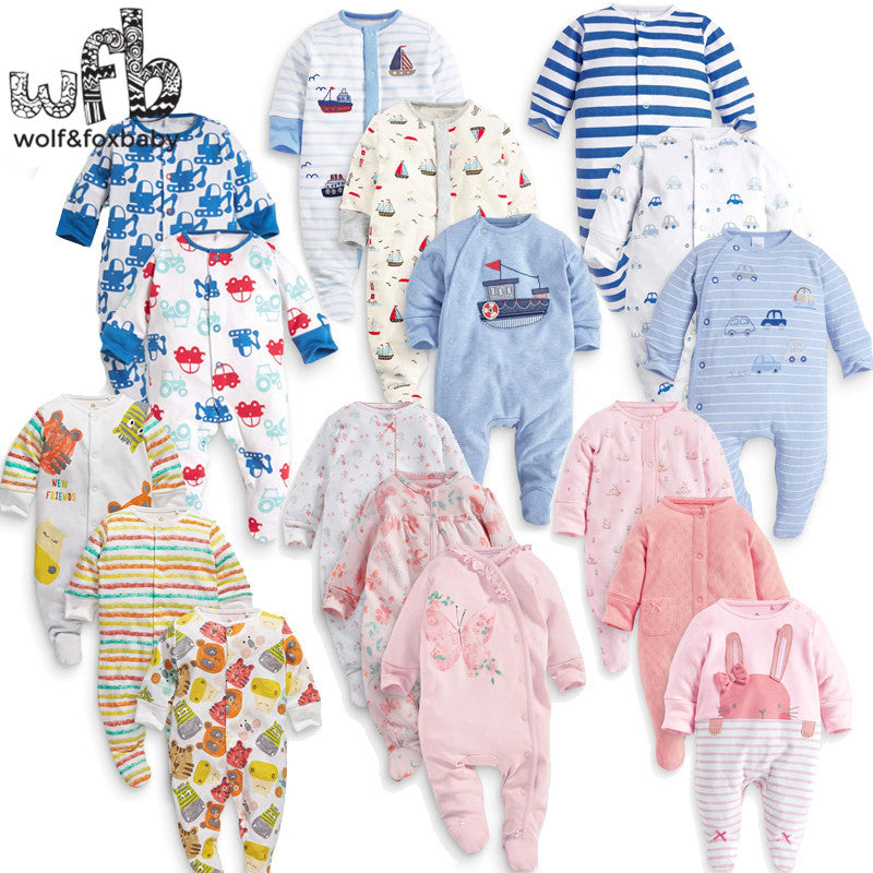 Retail 3pcs/pack 0-12months long-Sleeved Baby Infant footies for boys girls jumpsuits Clothing newborn clothes - KiddyLanes