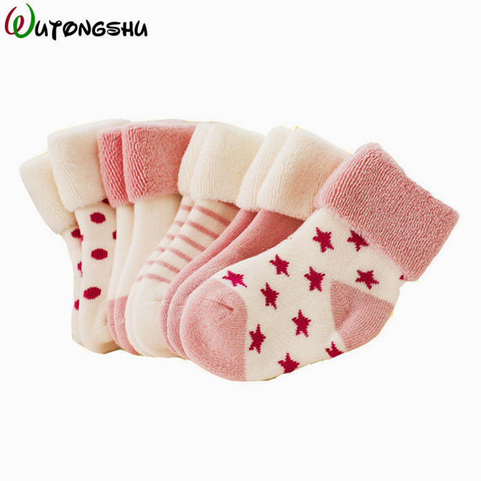 5 Pairs/ 3 Pairs/Pack Winter Warm Baby Girls Boy Socks Spring Summer | Newborn Baby Boy Socks For 0-2Y - KiddyLanes