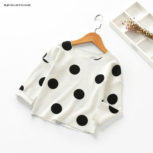 Autumn Baby Girls Long Sleeve Shirts Polka Dots Children Blouse - KiddyLanes