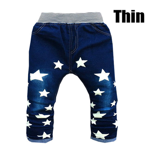 Elastic Waist Children Boy Jeans Print Star Boys Straight Outerwear Baby Pants - KiddyLanes