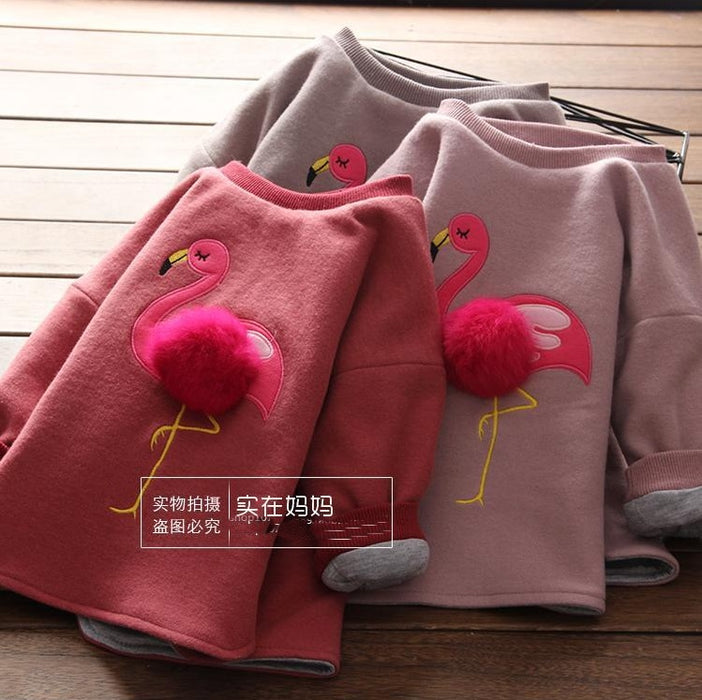 New autumn and winter arrival girl cute flamingo design warm top o-neck thick top - KiddyLanes