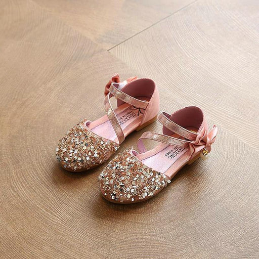 Children Princess Glitter Sandals Kids Girls Soft Shoes Square Low-heeled Dress Party Shoes Pink /Silver/Gold - KiddyLanes