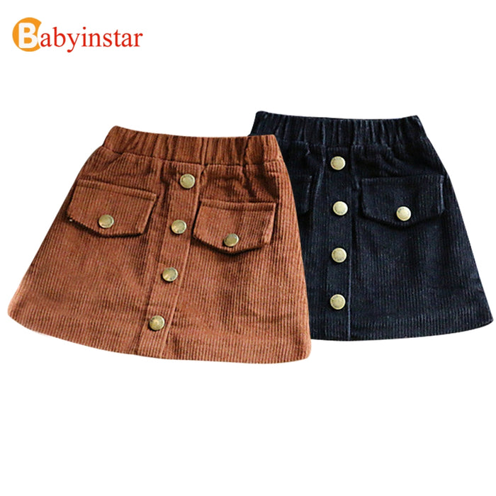 Babyinstar Girls Skirts  New Arrival Brand Children's Clothing Autumn Winter Solid Skirt Outwear Button A-Line Girl Skirt - KiddyLanes
