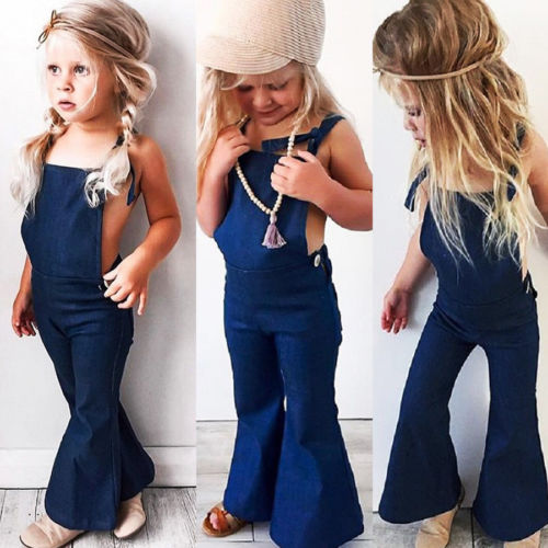 Fashion Newborn Toddler Kids Girls Denim Bandge Strap Bib Pants Overalls Romper Jumpsuit Playsuit Clothes 1-6Years - KiddyLanes