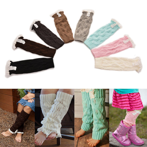 1 Pair Soft Winter Warm Kids Girls Baby Trendy Knitted Lace LeWarmers Infants Toddlers Trim Boot Cuffs Socks Knee High - KiddyLanes