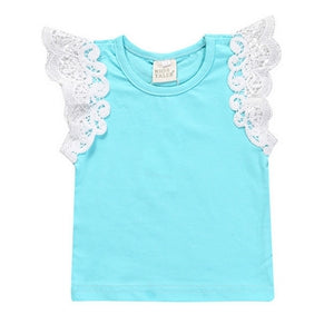Summer Baby T-shirt new baby Europe America baby lace sleeve top Girls cotton sleeves vest Children clothes stripes solid color - KiddyLanes