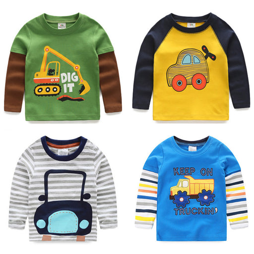 Boys T-shirt Kids Tees Baby Child Boy Cartoon Spring Children Tee Long Sleeve Stitching Cotton Cars Trucks Striped Autumn Shirt - KiddyLanes