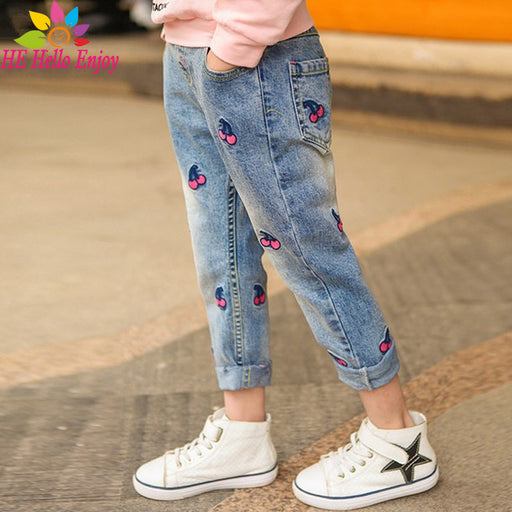 HE Hello Enjoy Children's Clothing Girls Jeans For Girl Winter Baby Jeans Girl Kids Pants Boutique Children Trousers spring 2018 - KiddyLanes