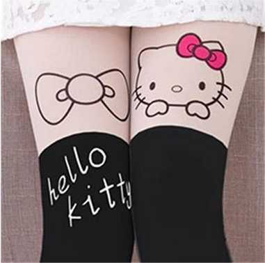HEYFRIEND Summer Children's Baby Kids Girls Cute Pantyhose Thin tights Knee Fake Velvet Stocking White Cartoon Kitty cat 3-12T - KiddyLanes