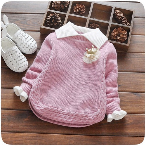 Autumn Winter Baby Girls Long Sleeve Lapel Collar Crown Knitwear Pullover Princess Kids Outerwear Sweater roupas de bebe - KiddyLanes