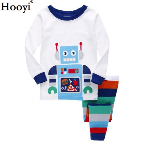 Robot Children Pajamas Suit Boys Pijama Sleepwear Baby Boy Clothing Bottom T-Shirts Kids Pyjamas Home Sport Suit Clothes - KiddyLanes