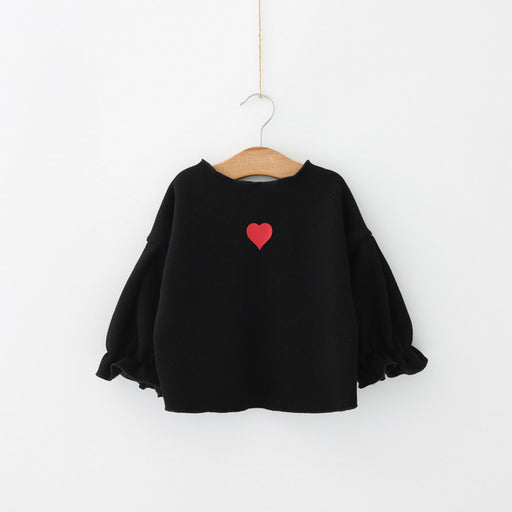 Girls T-shirt Long Sleeve Love Heart Sweatshirt