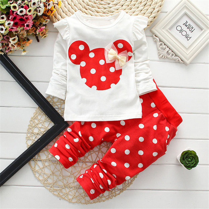 New Spring children girls clothing sets mouse early autumn clothes bow tops t shirt leggings pants baby kids 2 pcs suit - KiddyLanes