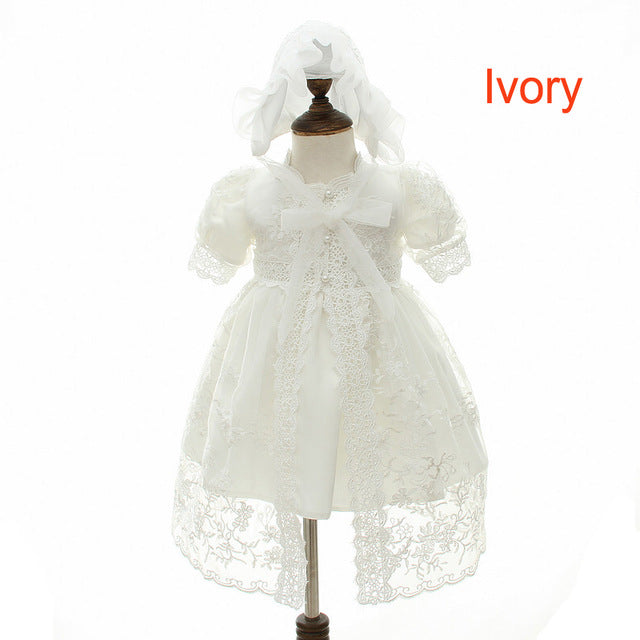 a9853ddb9c91a IYEAL Baby Girl Dress With Shawl + Hat for Toddler Girls Infant 1 Year  Birthday Party Baptism Christening Gown High Quality