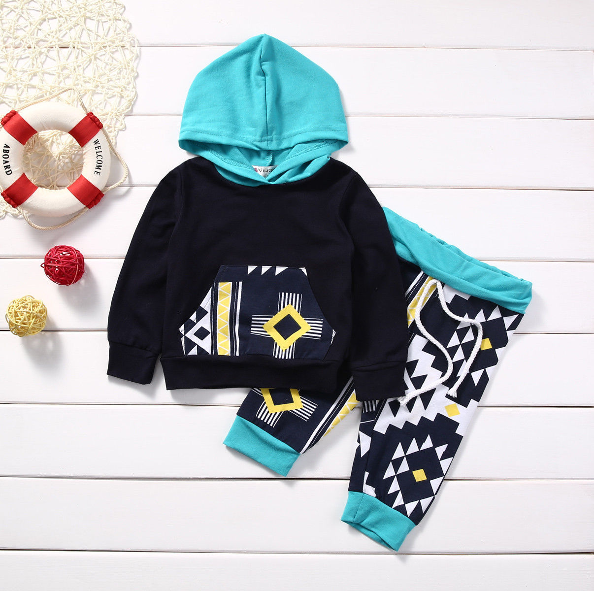 New Fashion Kids Clothes Infant Baby Boy Girl Long Sleeve Hoody Sweatshirt Tops Pant 2PCS Outfit Newborn Tracksuit 0-18M - KiddyLanes