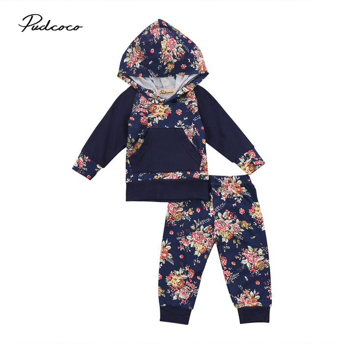 Unisex 2 PCs Newborn Baby Girl Boy Floral Hoodies Sweatshirt Tops Leggings Pants Outfits Clothes Set - KiddyLanes