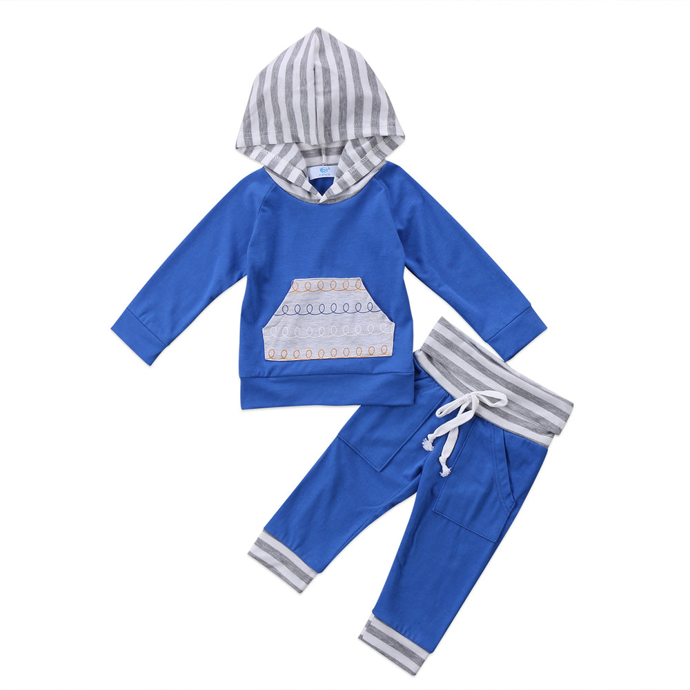 Newborn Infant Baby Boys Outfits 2Pcs Hoodie Sweatshirt Tops Long Sleeve+Pants Leggings Bebes Boys Girls Outfits Set - KiddyLanes
