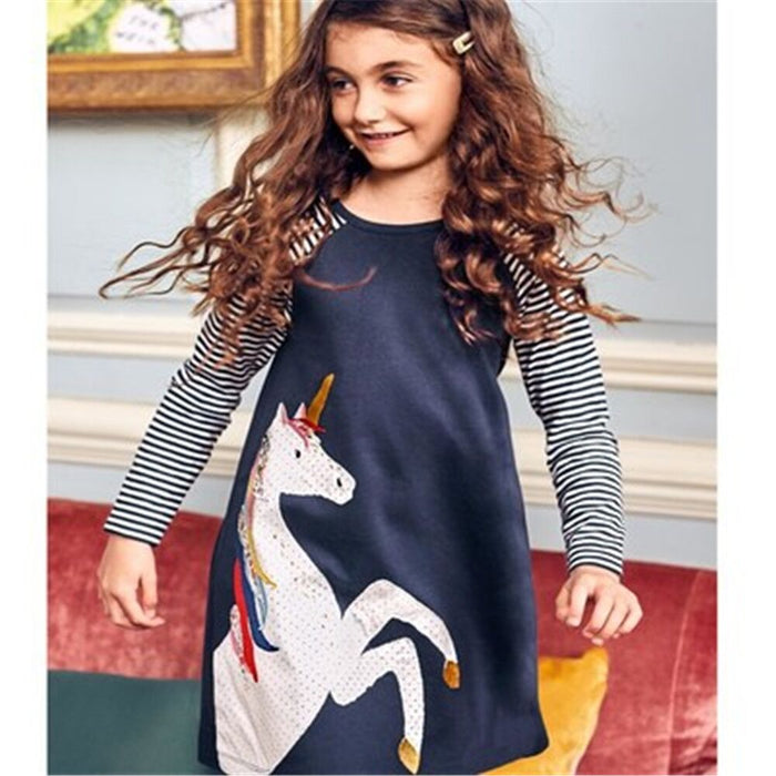 Kidsalon Baby Girls Clothes Vestiods Unicorn Applique Christmas Dress Girl Party Dress Robe Princess Dress for Children Clothing - KiddyLanes