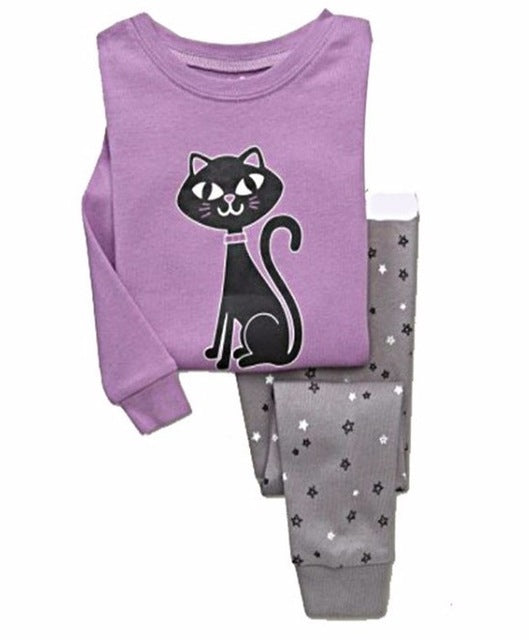 Brand kids Pajamas Sets Cartoon animal pattern nightgown Children cotton Pyjamas girls boys lovely soft sleepwear clothes set - KiddyLanes