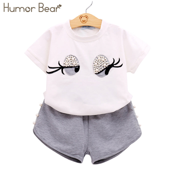 Humor Bear Girls Clothing Set Pearl Girls Clothes Set Lovely Long Eyelashes Toddler Girl tops + Pants Girls Suit Kids Clothes - KiddyLanes