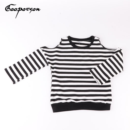 Girls Shirt Striped Shoulderless Tops Girl's Shirt Outfits Shirt For Children Kids Full Sleeve Clothes Casual - KiddyLanes