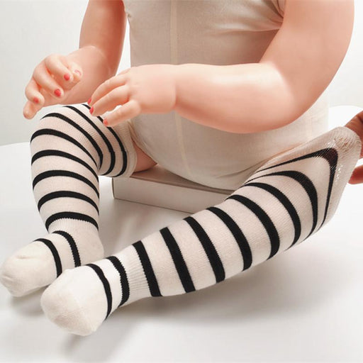 8e2e2b1d3db 0-24 Months Newborn Baby Knee High Socks Toddler Kids Cute Stripe Socks  Cotton Warm