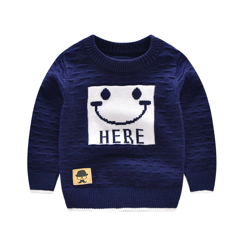 Cartoon Smile Baby Sweater Casual Outfit Angora Pullover Long Sleeve Baby Boys Girls Sweaters Autumn Winter Baby Boys Clothing - KiddyLanes