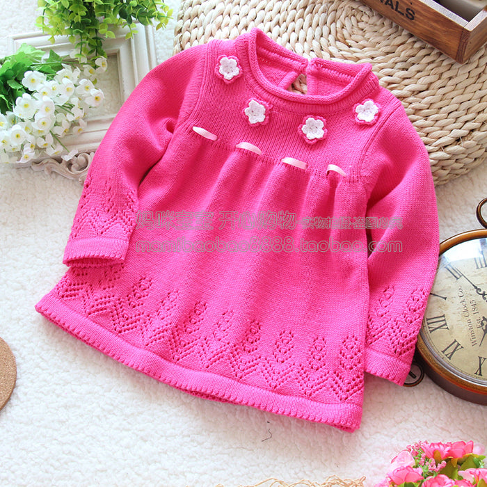 Spring autumn kids clothes girl sweater pullover baby knitted sweater skirt top baby outerwear - KiddyLanes
