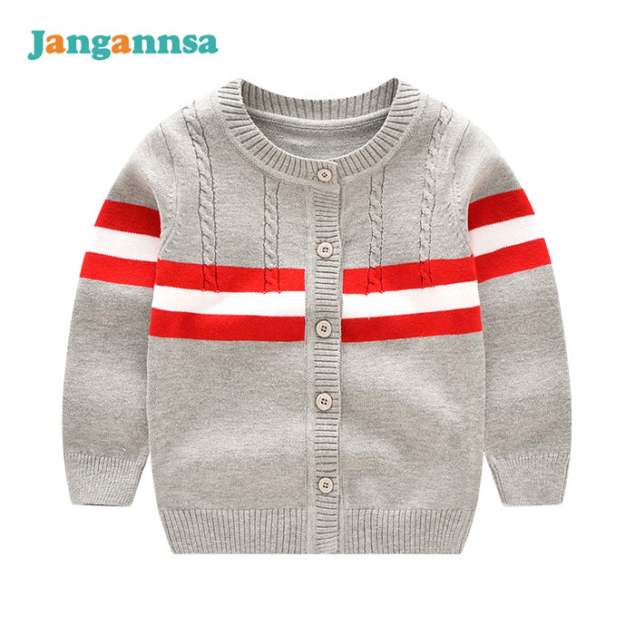 Knitted Baby Boys Sweater O-Neck Long Sleeve Cardigan Spring Autumn Girls Boys Cardigan Sweater Solid Cotton Baby Boys Clothing - KiddyLanes